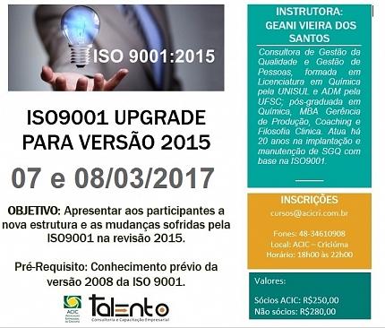ISO 9001 UPGRADE PARA VERSÃO 2015