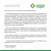 Acic apoia volta à normalidade das atividades do país