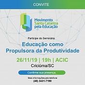 """""""Educação como Propulsora da produtividade"""" será tema de seminário que ocorrerá na Acic"""