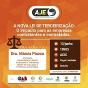 Especialista falará sobre Lei da Terceirização em encontro da AJE Criciúma