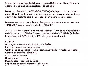 REFORMA TRABALHISTA - ATUALIZAÇÃO DA LEGISLAÇÃO