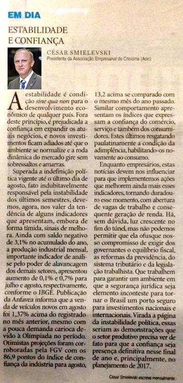 16/09 - Artigo publicado Diário Catarinense