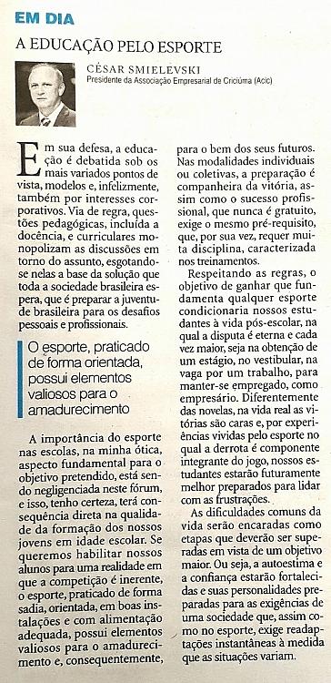 19/04 - Artigo publicado no Diário Catarinense