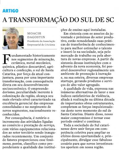 A transformação do Sul de Santa Catarina