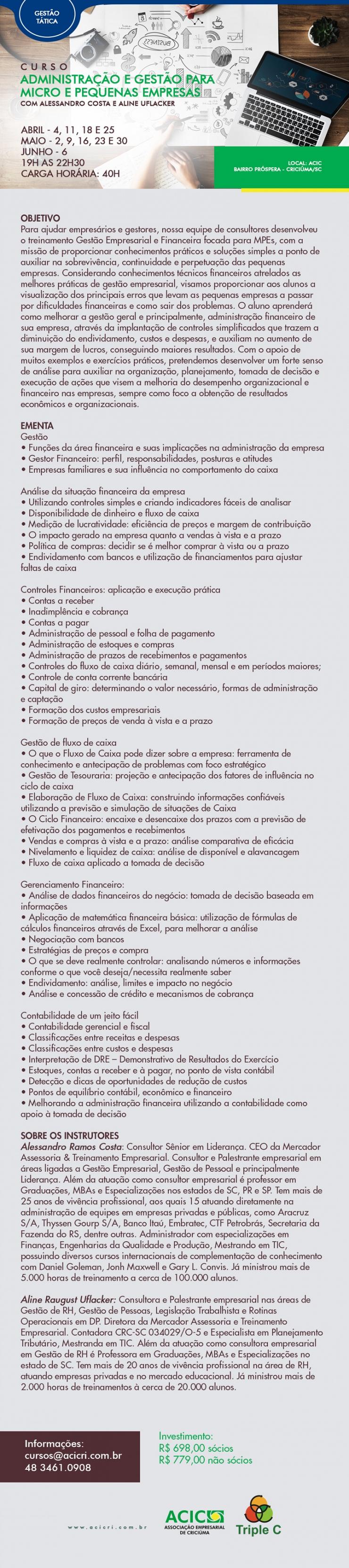 ADMINISTRAÇÃO E GESTÃO PARA MICRO E PEQUENAS EMPRESAS