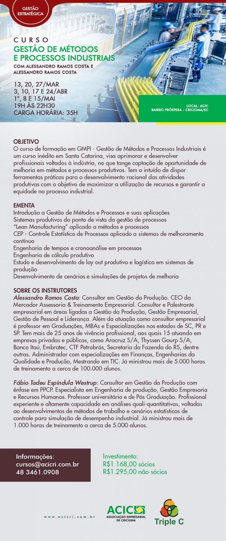 GESTÃO DE MÉTODOS E PROCESSOS INDUSTRIAIS