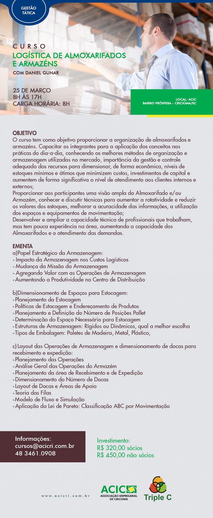 LOGÍSTICA DE ALMOXARIFADOS E ARMAZÉNS